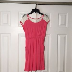 Girls Soprano Dress Lace and Pink with pockets